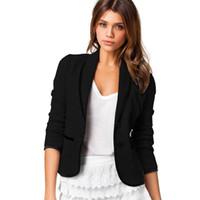 Wholesale womens office jacket - 2018 Summer Womens Cotton Blaser Elegant Office Blazer Coat Outwear Female Feminino Blazer femme Plus Size Jacket femme