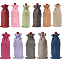 Wholesale gift bags 15cm for sale - Group buy Jute Burlap Wine Bottle Cover Champagne red Wine Drawstring Bags covers Packaging Gift for Party Wedding Favor Pouch Bags cm BBA345