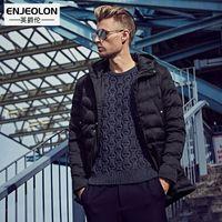 парковая куртка мужская чёрная оптовых-Enjeolon  Coon Padded Hooded Jacket Men,windproof Parka Men Clothing,Thick Quilted black Hoodies Coat male WT0226