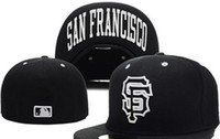 Wholesale field full - Wholesale On Field Men's Giants fitted hat flat Brim embroiered SF letter team logo fans baseball Hat top quality giants full closed Chapeu