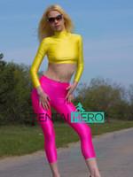 zentai amarelo venda por atacado-Frete Grátis NOVO Duas Peças Amarelo E Cor Fuchsia Spandex Ginástica Traje Collant Para Mulheres Sexy Zentai Catsuit PSL1809