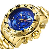 homens assistem esportes grandes venda por atacado-Marca de luxo esportes Moda Quartz Assista Grande mostrador de Aço Inoxidável Homens Relógios De Ouro de mergulho à prova d 'água de alta qualidade relógio de pulso Dominador