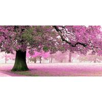 pinturas abstractas de buda al por mayor-Paisaje Diy 5D Pintura Diamante Flores de Color Rosa Taladro Cuadrado Completo Bordado de Diamantes de Imitación de punto de Cruz Decoración Mosaico