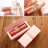 ingrosso foglio di invito di nozze-2018 Carta europea classica Carta per bigliettini per matrimonio rosa taglio arrossato rosa Invito personalizzabile con foglio interno bianco e scatola