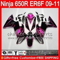 verkleidung moto großhandel-Körper für KAWASAKI NINJA 650R ER 6F ER-6F 2009 2010 2011 Satz 114HM.40 Ninja650R ER6 F 650 R ER6F 09 10 11 Moto Karosserie Pink schwarz Verkleidung