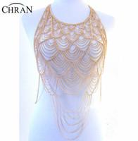 ganzkörper halsketten großhandel-Großhandel Full Metal Body Schulter Kette Silber Gold geschichteten Europa Quaste Bib Halskette Bikini Harness Bauch Kleid Schmuck BSN205