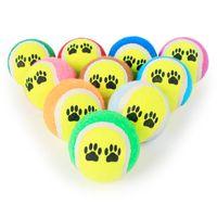 Wholesale Ball Run Toy - Dog Chew Toy 6cm Footprints Rubber Tennis Balls Run Catch Throw Play Toy random colors wen5770