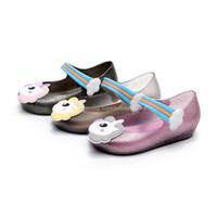 Wholesale pvc jelly sandals kids online - Kids Unicorn jelly sandals baby unicorn shoes children girls Melissa princess shoes cute cartoon transparent bling soft beach Shoes C3706