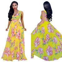 daf16607ecba Women's Summer Flowy Wrap V Neck Bodice Sleeveless Floral Printed Long Dress  for Vacation Free Shipping Q106