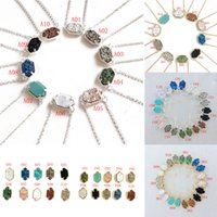 Wholesale drusy agate pendants for sale - Group buy Top quality brand Druzy necklaces Dangle Earring Set women Geometric Natural Drusy stone pendant For Ladies Luxury Jewelry Accessories