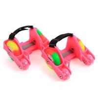 flaş silindirleri toptan satış-1 Çift Çocuk Rulo Ayakkabı Paten 4 Yangın Tekerlekler Küçük Motor Flaş Ayakkabı Rulo Taşınabilir Çocuklar Için Boy ve Kız