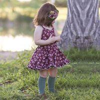 Wholesale vintage girls skirts - Vintage Style Braces Skirt Baby Girls Vest Skirt Backless Sleeveless Floral Dresses Summer Cotton Knee-length 1-4T