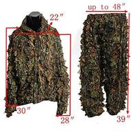 roupas de camuflagem grátis venda por atacado-Camuflagem Ao Ar Livre Folha Ghillie Suits Woodland Camo Tamanho Livre Selva Caça Roupas 3D Selva Caça