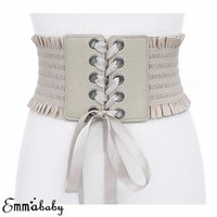 Wholesale women wide black stretch belt resale online - Women Lace up Elastic Stretch Corset Waist Belt Wide Dress Belts Solid Casual Nylon Adult Waistband Colors One Size