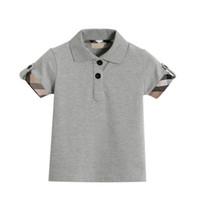 ingrosso collari per bambini-Girocollo 2018 Abbigliamento colletto Ragazzi T-Shirt Top T-Shirt estiva traspirante Neonati per 1 -6 anni Polo Shirts Abbigliamento bambino