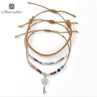 brazaletes de cuerda al por mayor-Amaiyllis lucky Crystal Key Colgante Charms Pulsera Para Las Mujeres Bohemia Hecha A Mano Cadena de Cera Pulsera Brazalete Ajustable