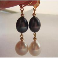 Discount black pearl earring mm - Charming 10X12 mm South Sea white black Pearl Earring 14K yellow gold hook