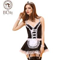 Wholesale Latex Female Suit - Leeches Q897 latex women lingerie sexy hot erotic maid uniform plus size temptation cosplay suit lenceria porn sexy shop