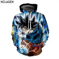 Wholesale Super Man Sweater - NCLAGEN New Men Dragon Ball Z Hoodie Jacket Super Saiyan Ultra Instinct Son Goku 3D Print Long Sleeve Hooded Sweater Coat