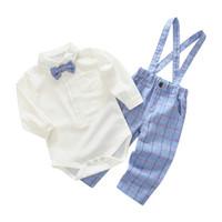 ingrosso abbigliamento formale del neonato-Il pagliaccetto pieno del manicotto dei vestiti del neonato 2 + bretelle i pantaloni lunghi signore vestito convenzionale del partito di cerimonia nuziale del vestito