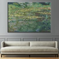 Wholesale piece lily painting resale online - Canvas HD Prints Pictures Living Room Piece Water Lily Pond Landscape Paintings Monet Impressionism Poster Wall Art Home Decor