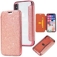 étui portefeuille transparent iphone 5s achat en gros de-Etui portefeuille en cuir hybride Bling glitter Flip Housse en TPU transparente pour iPhone X 8 7 6 6S 5 5S SE iPhone8 Samsung S7 Edge S8 S9 Plus Note Note8