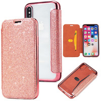 Wholesale iphone 5s case wallet online – custom Hybrid Bling Glitter Flip Leather Wallet Case Clear TPU Cover For iPhone X S S SE iPhone8 Samsung S7 Edge S8 S9 Plus Note Note8