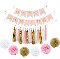 renk topları toptan satış-2 stilleri Süs Afişler Kağıt Çiçek Fenerler Renkli Şerit Ipek Perde Çiçek Topları set Ayıklaması Doğum Günü Dekorasyon GGA758