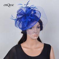 şapka gelin büyüleyici toptan satış-Kraliyet mavi tüy fascinator gelin şapka sinamay fascinator için prom mother'day Yarışları kentucky derby