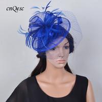0d85604f7f7d8 Wholesale royal blue fascinator for sale - Royal blue feather fascinator  bridal hat sinamay fascinator for