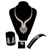 свадебные ювелирные изделия оптовых-Dubai Jewelry Set Women  Cubic Zircon African Woman Bridal Wedding Fashion Xquisite Ethiopian  Jewelry Costume Design
