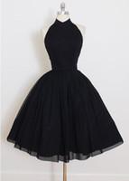 foto de niña de vuelta al por mayor-Fotos reales por encargo A-Line halter corto negro vestidos de regreso al hogar Vestido De Festa elegante espalda abierta vestidos formales para niñas
