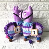 Wholesale Cute Fortnite plush dolls Kids toys Stash Llama Figure Doll Soft Stuffed Animal Toys Comfort Gifts cartoon Purple Small cm Free DHL FEDEX