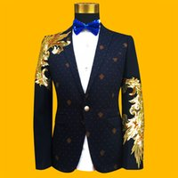 Wholesale performance plus - 2017 Fashion Gold And Blue Embroidered Paillette Men Suits Male Singer Slim Performance Party Prom Costumes Plus Size