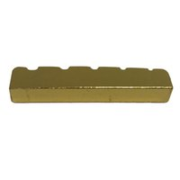 гитара гайка долбежные оптовых-5 String Slotted Brass Gold Palted Electric Bass Guitar Bridge Nut 45.2 * 6 * 8 / 8.9mm-MUSIC