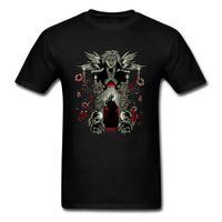 gül gecesi toptan satış-Sihirli Gece Baskılı T Gömlek Kan Gülleri Kafatasları T Gömlek Erkekler Siyah Tee Goth Tarzı Üstleri Anime Karakter Giyim Punk Tshirt