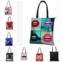 Wholesale lips design online - 10 design Women Mermaid Sequins tote Large Handbag Sequins Lips Emoji tiger design Shiny Sequins Ladies Casual Tote KKA5938