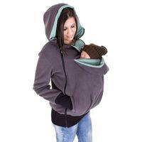 ingrosso giacche portante bambino-Cappuccio multifunzionale con cappuccio Kangaroo maternità marsupio giacca casual invernale con cerniera cappotto per donne pregant con cappuccio ispessito 6 colori C1628