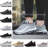 Wholesale x lover - 2018 x 97 OG Metallic Gold Silver Bullet Triple White Black Men's Women's Lover Running cushion sneaker Sport Shoes TRIPLE BLACK Eur 36-45