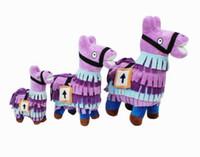 Wholesale treasures toys online - 2018 New Fortnite Game Troll Stash Llama Figure Dolls Fortress Night Alpaca Treasure Box Plush Toys Hand Dolls Gifts cm MMA228