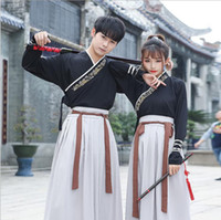 Wholesale swords costumes - Unisex Original traditional Hanfu embroidered cross neckwear swords man woman style dress uniform Special costume Guangdong embroidery