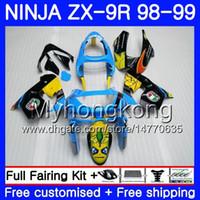 blau 1998 zx9r großhandel-Gehäuse für KAWASAKI NINJA ZX 9 R ZX900 ZX9 R ZX9R 98 99 00 220HM.25 ZX 900 900CC Shark Blue heiß ZX 9R 98 99 ZX-9R 1998 1999 2000 Verkleidungssatz