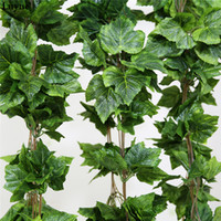 Wholesale grape leaf ivy artificial resale online - Luyue Artificial Silk Grape Leaves Hanging Garland Faux Vine Ivy Indoor Outdoor Green Leaves Garden Wedding Home Decor