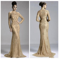 Wholesale gray plus size mother bride dresses resale online - O Neck Long Sleeve Slim Mermaid Evening Dress Lace Appliques Slim Formal Prom Party Gowns Beaded Mother of the Bride Dresses