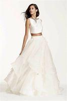 two piece maternity wedding dresses NZ - Two-Piece Crop Top Ball Gown Sleeveless Wedding Dress SWG687 Ruffled Organza Beautiful Pieces Bridal Dresses