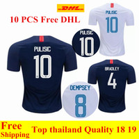 thai qualitätsfußball jerseys usa großhandel-Großhandel 10 Stück frei DHL Thai Qualität 2018 2019 USA Trikots PULISIC Soccer Jersey 18 19 DEMPSEY BRADLEY ALTIDORE USA Shirt