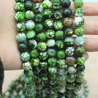 6-16mm Natural green new fire agate section round loose beads DIY jewelry accessories semi-finished products European and American style
