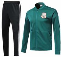 Wholesale unisex uniform pants - 2018 world cup Mexico long sleeve Jacket suit kit Soccer Jersey home and away Training uniform 2018 Brasil football uniform jacket+pants