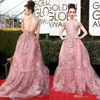 8af5a59464 2019 Newest 74th Golden Globe Awards Lily Collins Zuhair Murad Celebrity Prom  Dresses Sheer Backless Pink Lace Appliqued Red Carpet Gowns