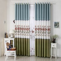 маленькие шторы оптовых-Pastoral Small Fresh Coon Embroidered Curtains for Living Dining Room Bedroom Balcony New Curtains